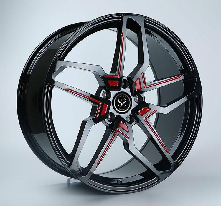 22x10 Gloss Black With Red 1-PC Mercedes Benz Wheel